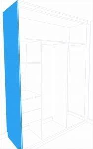 End panel for mirror door kit